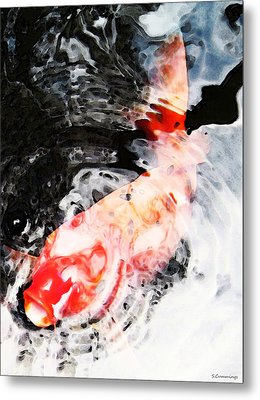 Asian Koi Fish - Black White And Red Metal Print by Sharon Cummings