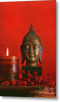 Asian Theme With Candle  Metal Print by Sandra Cunningham