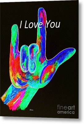 Asl I Love You On Black Metal Print by Eloise Schneider