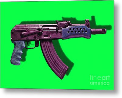 Assault Rifle Pop Art - 20130120 - V3 Metal Print by Wingsdomain Art and Photography