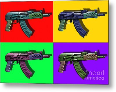 Assault Rifle Pop Art Four - 20130120 Metal Print by Wingsdomain Art and Photography