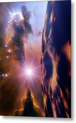 Asteroid And Eagle Nebula Metal Print by Nasa, Esa, And The Hubble Heritage Team Stsci/aura)/detlev Van Ravenswaay