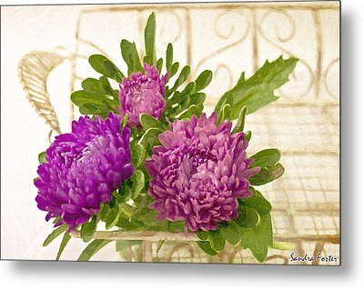 Asters In Tray - Digital Art Oil Painting Metal Print by Sandra Foster