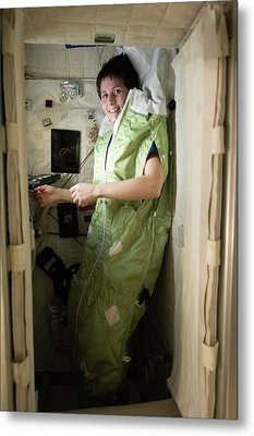Astronaut Samantha Cristoforetti On Iss Metal Print by Nasa