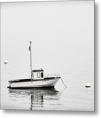 At Anchor Bar Harbor Maine Black And White Square Metal Print by Carol Leigh