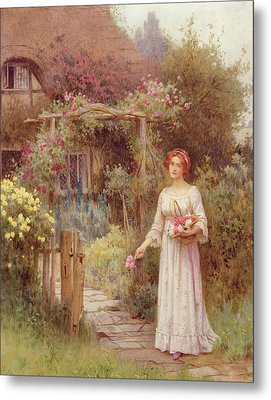 At The Garden Gate Metal Print by William Affleck