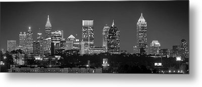 Atlanta Skyline At Night Downtown Midtown Black And White Bw Panorama Metal Print by Jon Holiday