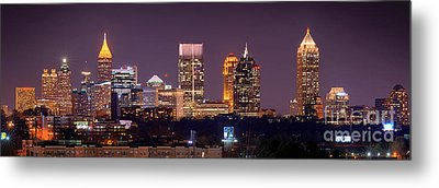 Atlanta Skyline At Night Downtown Midtown Color Panorama Metal Print by Jon Holiday