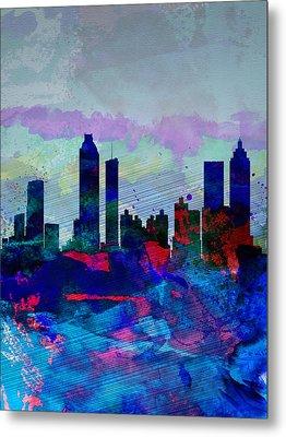 Atlanta Watercolor Skyline Metal Print by Naxart Studio