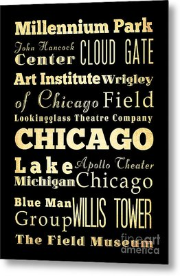 Attractions And Famous Places Of Chicago Illinois Metal Print by Joy House Studio