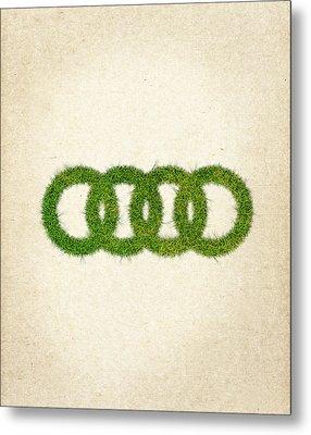 Audi Grass Logo Metal Print by Aged Pixel