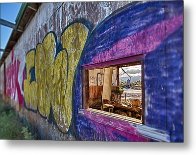 Audition Chair Graffiti Wall Metal Print by Scott Campbell