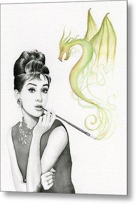 Audrey And Her Magic Dragon Metal Print by Olga Shvartsur