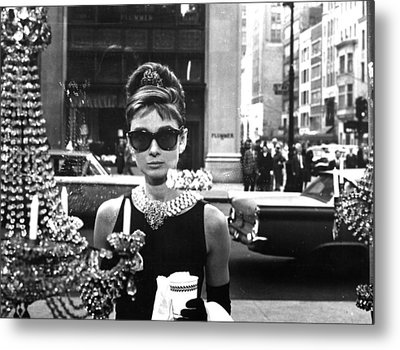 Audrey Hepburn Breakfast At Tiffany's Metal Print by Georgia Fowler