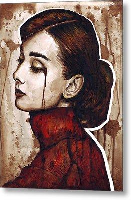 Audrey Hepburn Portrait Metal Print by Olga Shvartsur