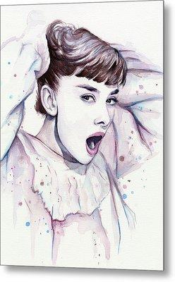 Audrey - Purple Scream Metal Print by Olga Shvartsur