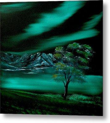 Aurora Borealis In Oils. Metal Print by Cynthia Adams