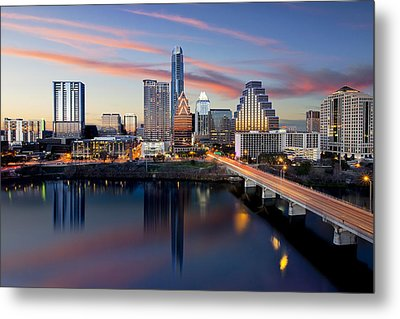 An Image Of The Austin Skyline And Lady Bird Lake From The Hyatt Hotel Metal Print by Rob Greebon
