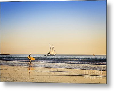 Australia Broome Cable Beach Surfer And Sailing Ship Metal Print by Colin and Linda McKie