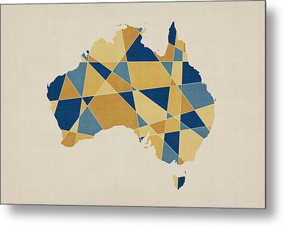 Australia Geometric Retro Map Metal Print by Michael Tompsett