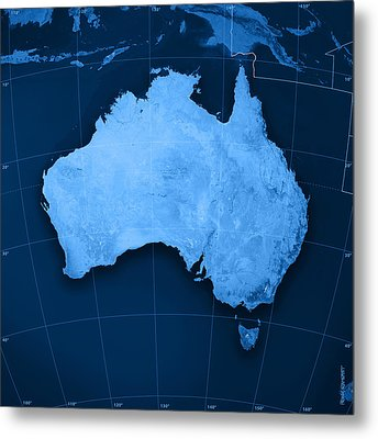 Australia Topographic Map Metal Print by Frank Ramspott