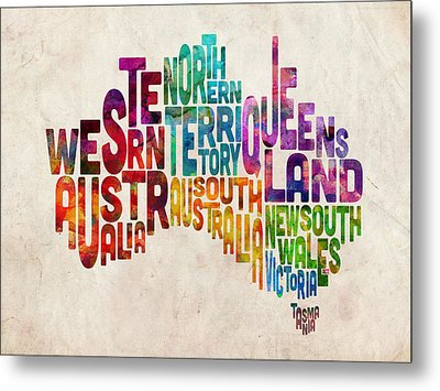 Australia Typographic Text Map Metal Print by Michael Tompsett