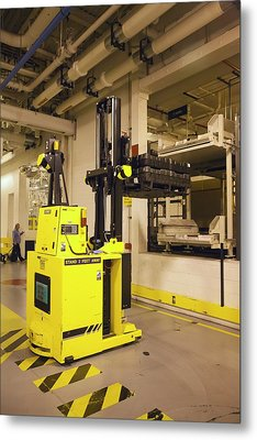 Automated Forklift At A Car Factory Metal Print by Jim West