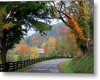 Autumn Beauty Around The Bend Metal Print by Carolyn Postelwait