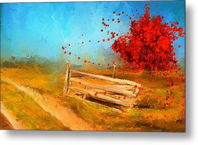 Autumn Farm- Autumn Impressionism Oil Palette Knife Painting Metal Print by Lourry Legarde