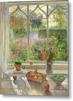 Autumn Fruit And Flowers Metal Print by Timothy  Easton