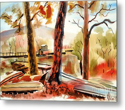 Autumn Jon Boats II Metal Print by Kip DeVore