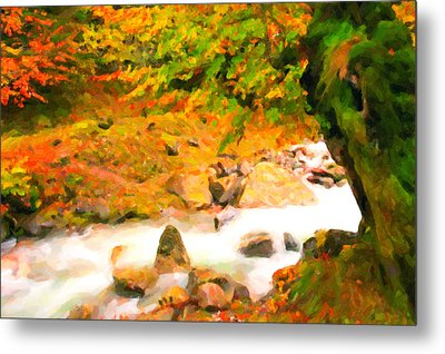 Autumn Landscape Of The River And The Trees  Metal Print by Lanjee Chee