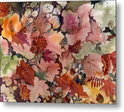Autumn Leaves And Flowers Metal Print by Neela Pushparaj