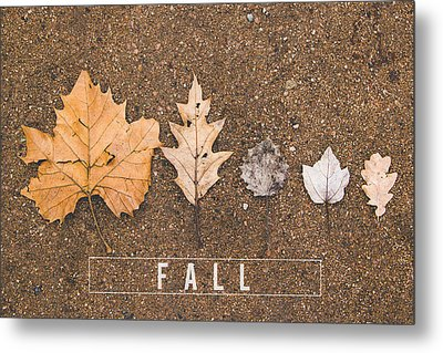 Autumn Leaves On The Ground Metal Print by Aldona Pivoriene