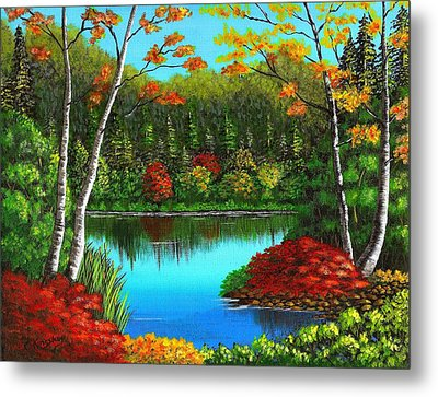 Autumn On The Water Metal Print by Cyndi Kingsley