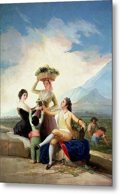 Autumn, Or The Grape Harvest, 1786-87 Oil On Canvas Metal Print by Francisco Jose de Goya y Lucientes