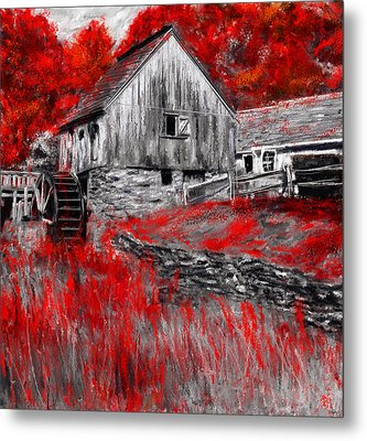 Autumn Promise- Red And Gray Art Metal Print by Lourry Legarde