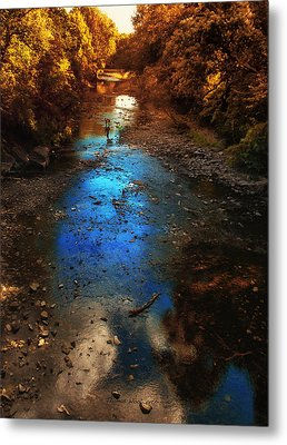 Autumn Reflections On The Tributary Metal Print by Thomas Woolworth
