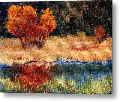 Autumn Riverbank Metal Print by Nancy Merkle