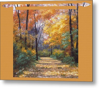 Autumn Road Tapestry Look Metal Print by Diane Romanello