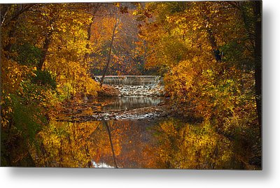 Autumn Waterfall Metal Print by Jen Morrison