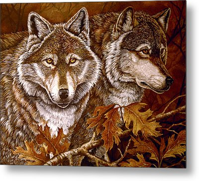 Autumn Wolves Metal Print by Sandy Williams
