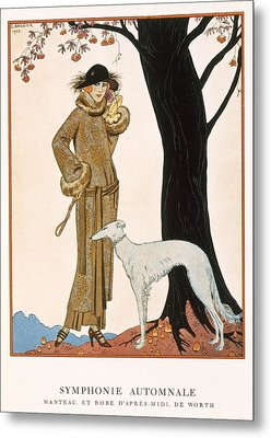 Autumnal Symphony Afternoon Coat And Dress By Worth Metal Print by Georges Barbier