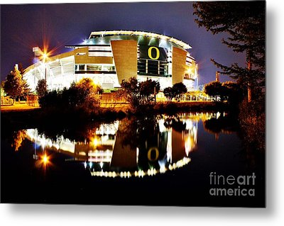 Autzen At Night Metal Print by Michael Cross