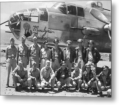 B-25 Bomber And Crew Metal Print by Underwood Archives