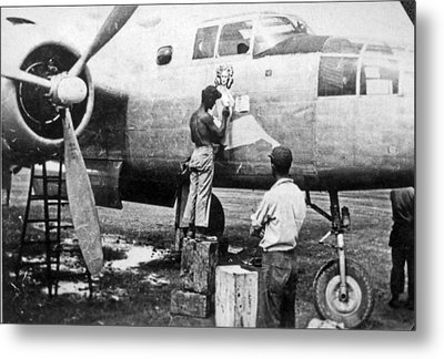B-25 Pinup Nose Art Metal Print by Underwood Archives