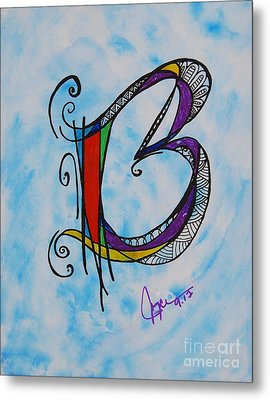 'b' Monogram Metal Print by Joyce Auteri