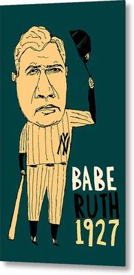 Babe Ruth New York Yankees Metal Print by Jay Perkins