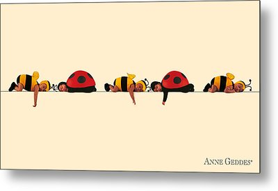 Baby Bees And Lady Bugs Metal Print by Anne Geddes