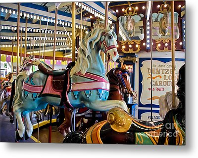 Baby Blue Painted Pony - Carousel Metal Print by Colleen Kammerer